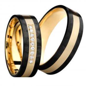 Forlovelsesring/giftering i carbon og gult gull eller carbon og titan