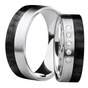 Forlovelsesring/giftering i carbon og sølv